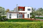 plan de maison contemporaine à étage en toit terrasse