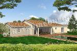 plan de maison en v avec une grande terrasse couverte