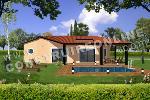 maison de plain pied avec un patio et une piscine