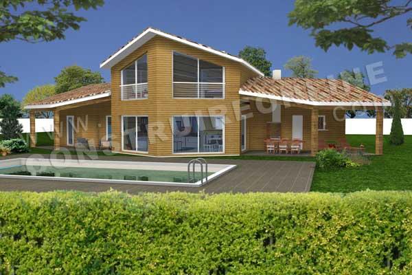 plan maison en bois 3d