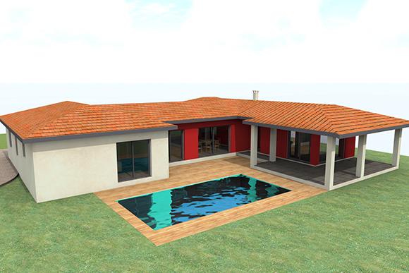 perspective 3d de maison moderne par Construireonline