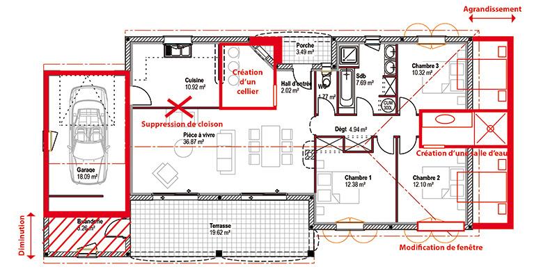 plan de maison modifié