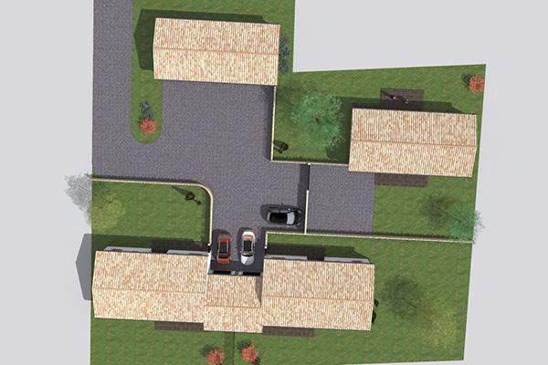 Pr sentation d un projet locatif de 3 maisons - Plan de masse maison individuelle ...