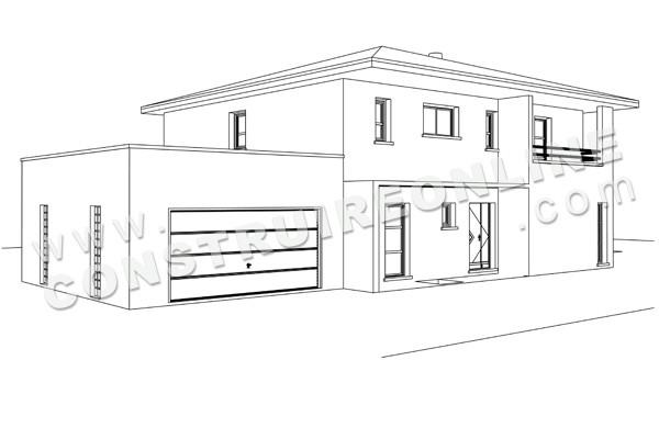 Dessin D Une Maison En Perspective : Plan de maison moderne bali