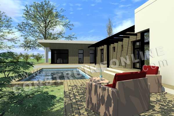 Plan de maison contemporaine arketip for Paiement construction maison