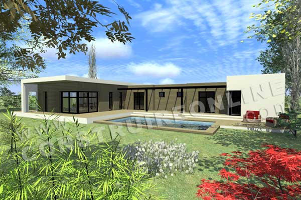 Plan de maison contemporaine arketip for Modele maison plain pied contemporaine