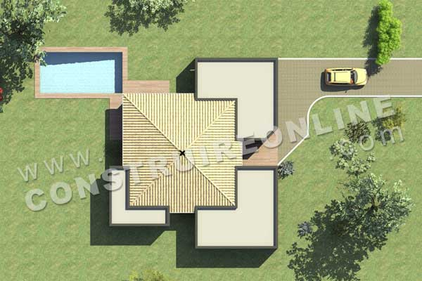 Plan de maison contemporaine carre d as for Modele extension maison plain pied