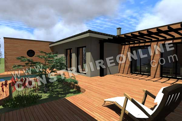 Plan de maison contemporaine intima for Terrasse 3d
