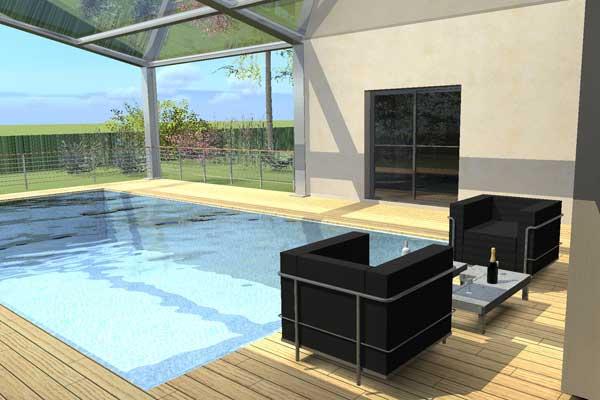 Plan de maison moderne avec piscine for Construire piscine interieure