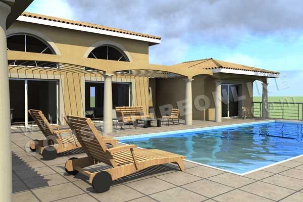 Plan de maison traditionnelle calanque for Construction piscine 3d
