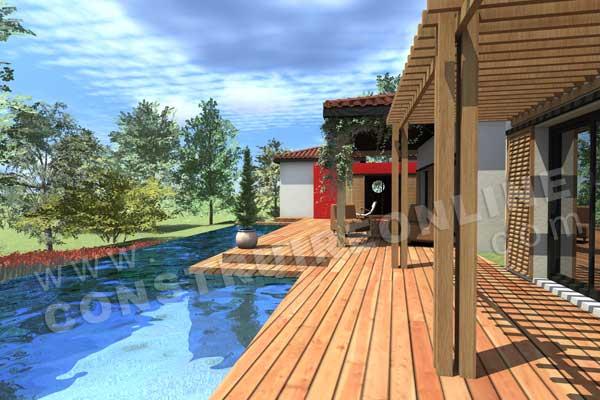 Plan de maison moderne sakawoule for Maison moderne piscine