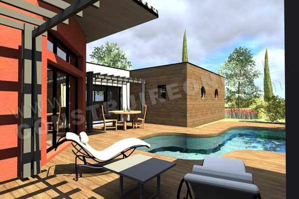 Plan de maison contemporaine tamaris for Construction piscine 3d