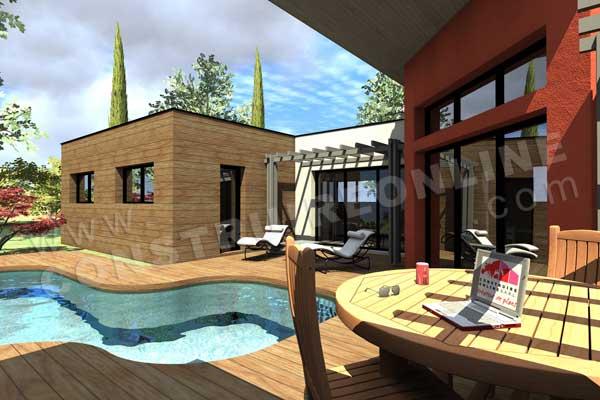 Plan de maison contemporaine tamaris for Construction de maison 3d