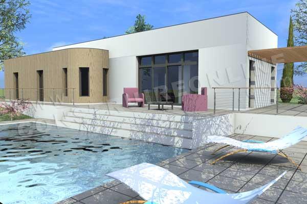 Plan de maison contemporaine dynamo for Construction piscine 3d