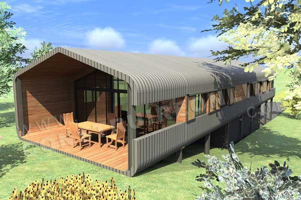Plan de maison contemporaine diligence for Plan maison terrasse