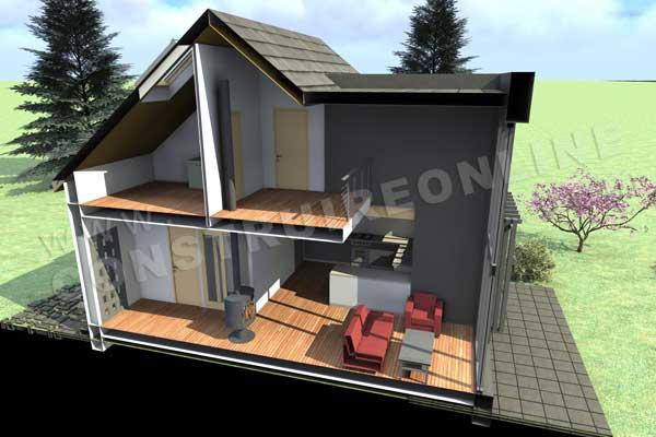 Plan de maison moderne galibier for Maison convertible