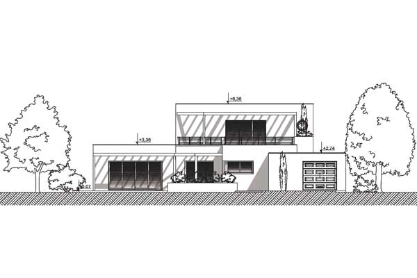Plan de maison contemporaine clapotis for Plan facade maison moderne