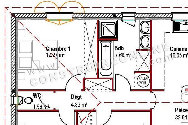 ... Détail Plan De Maison Traditionnelle Plain Pied Modèle CUT