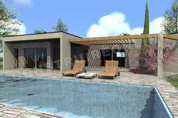 Vente de plan de maison contemporaine for Maison toit terrasse plain pied
