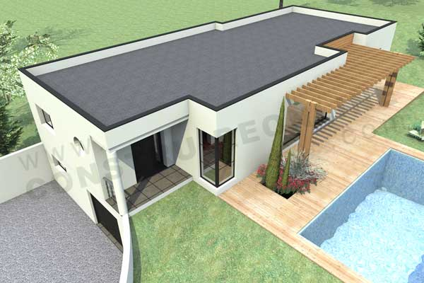 Plan de maison contemporaine boxtobox for Modele maison sketchup