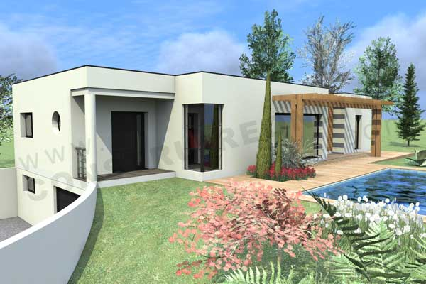 Plan de maison contemporaine boxtobox for Modele maison toit plat