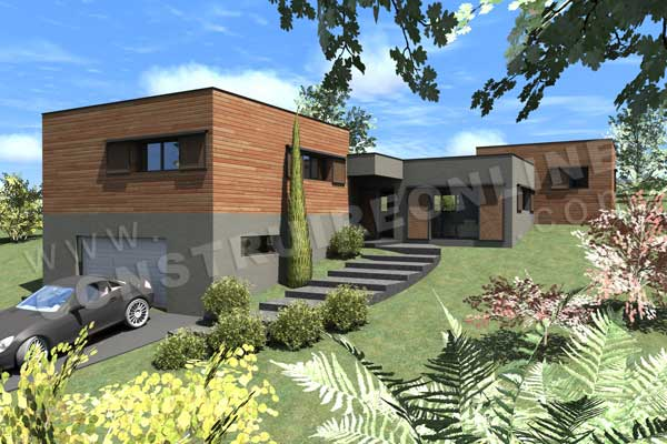 plan maison contemporaine sous sol hollywood garage - Plan De Maison Sur Terrain En Pente
