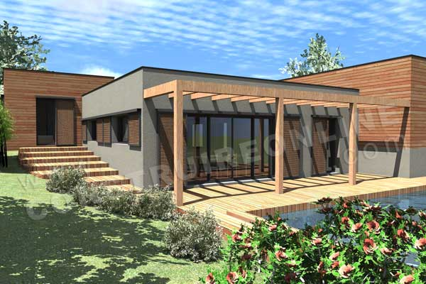 Plan maison contemporaine sous sol Hollywood piscine