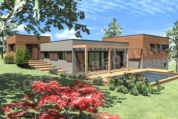 Plan maison contemporaine sous sol Hollywood terrasse