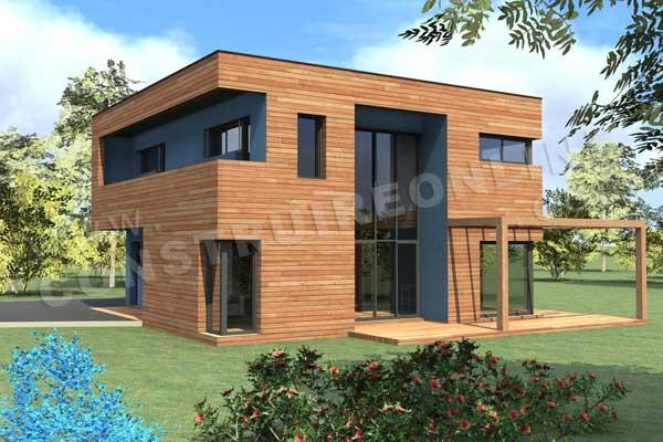 Plan de maison bois blue lagoon - Plan maison bois contemporaine ...