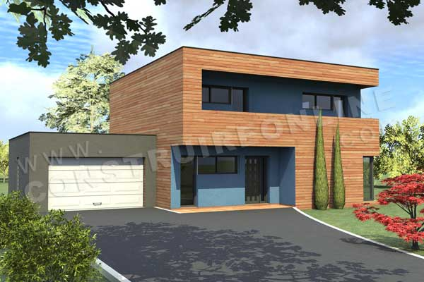 Plan maison contemporaine etage blue lagoon garage