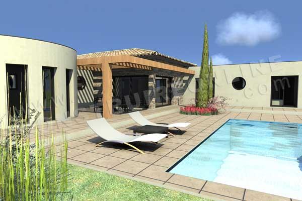 Plan de maison contemporaine camelia for Construction piscine 3d