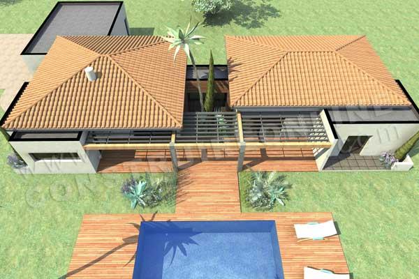 Plan de maison moderne oclock for Plan maison patio