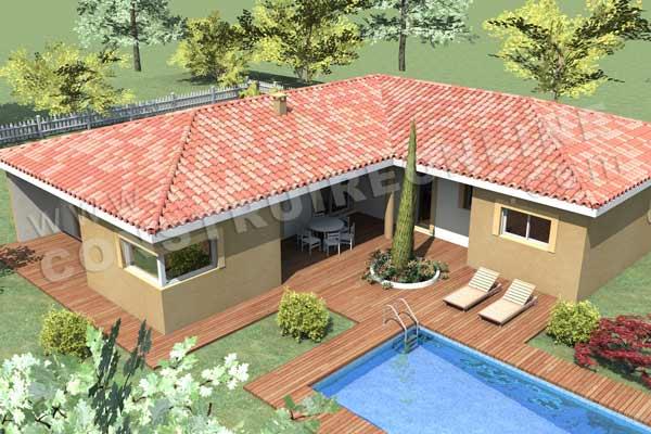 Plan de maison moderne pyla for Maison en l