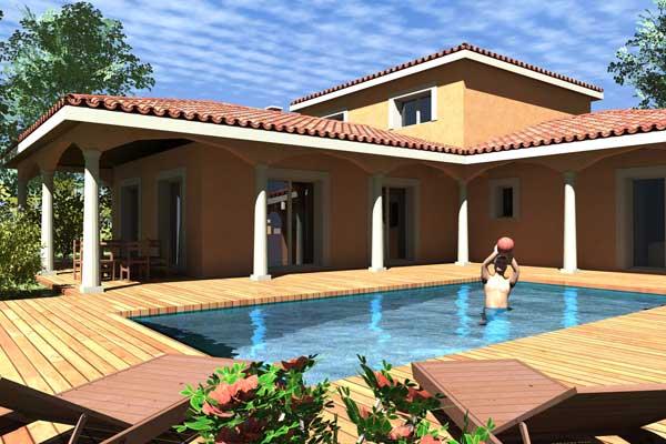 Plan de maison traditionnelle galantine for Photo maison avec terrasse couverte