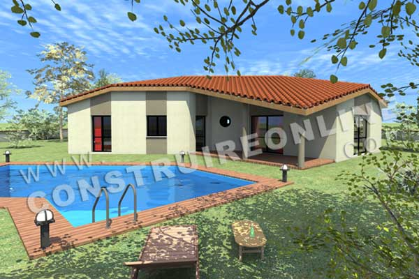 plan de maison modele little arrow vue 3d