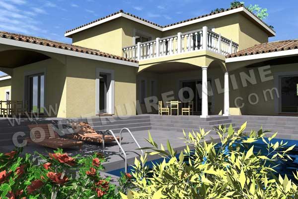 Plan de maison traditionnelle olivette - Plan maison provencale en u ...