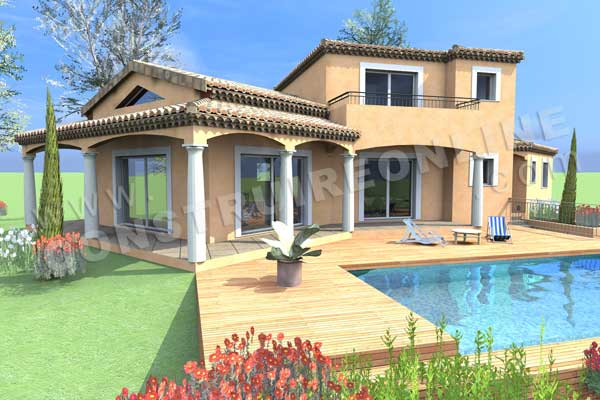 Vente de plan de maison traditionnelle for Terrasse 3d