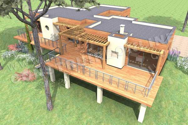 Plan de maison bois tandem - Terrasse en bois suspendue prix ...