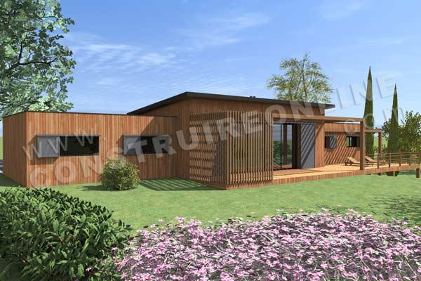 Plan de maison bois chic et choc for Modele maison bois contemporaine