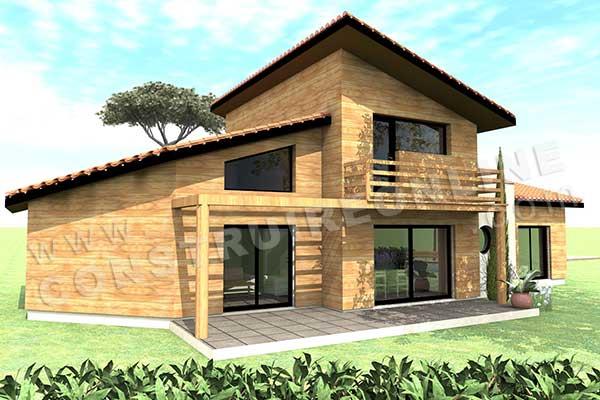 Plan de maison bois helios for Modele de maison a construire gratuit
