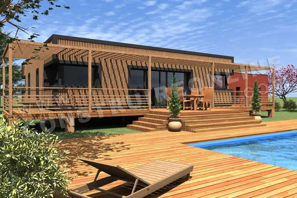 Plan de maison bois sapelli for Terrasse 3d