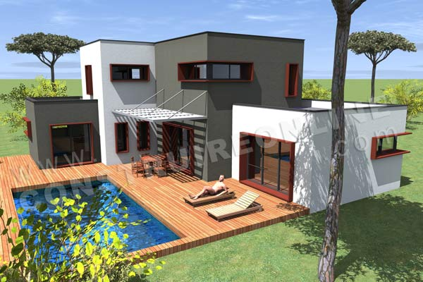 Affordable plan de maison etage tramontana vue piscine for Piscine bois montana