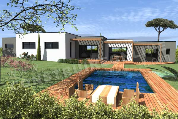 Plan de maison contemporaine escala for Construction piscine sur terrain non constructible