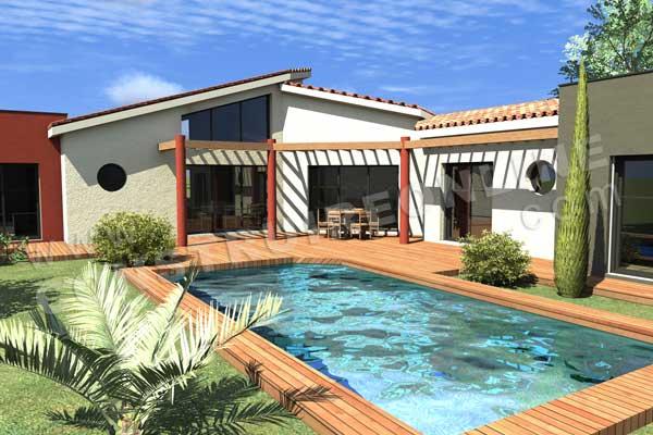 Plan de maison contemporaine caron for Plan maison terrasse