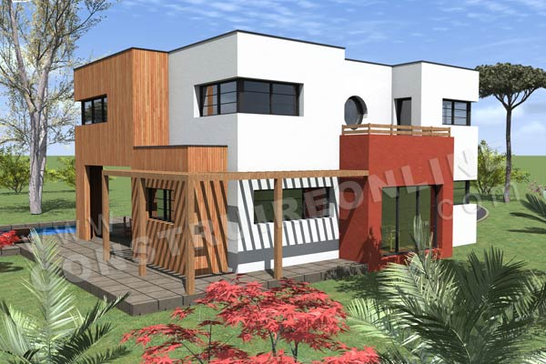Plan de maison contemporaine pacho for Plan maison cube etage