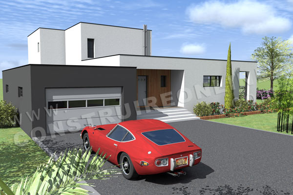 Plan de maison etage contemporaine cubique HORIZON vue garage