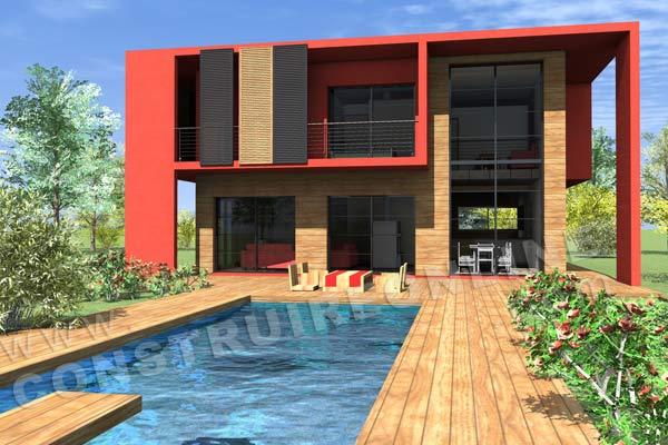 Plan de maison etage contemporaine cubique cub vue terrasse