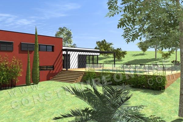 Plan de maison contemporaine vegas for Plan maison en pente