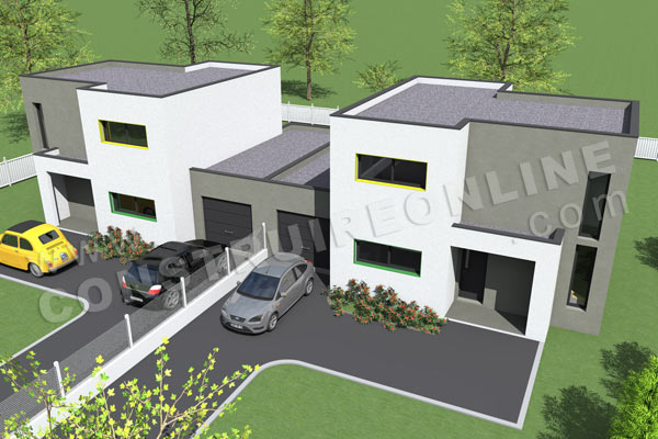 Plan de maison contemporaine gemeaux for Plan maison contemporaine a etage