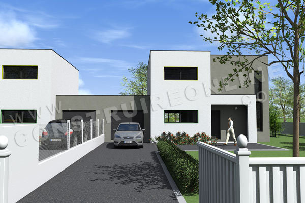 Plan de maison contemporaine gemeaux for Plan de maison contemporaine a etage gratuit
